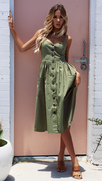 Love You Midi Green Dress - Boho chic ,fashion clothing, boho dresses - Blue Nana
