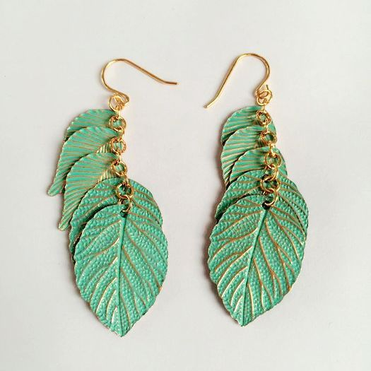 Green Leaf Earrings - Boho chic ,fashion clothing, boho dresses - Blue Nana