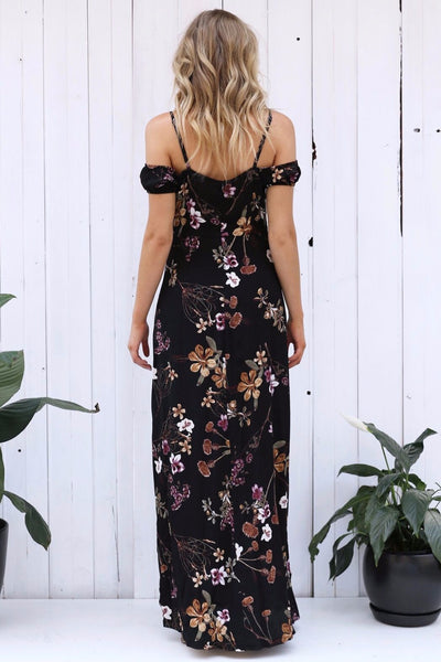 Striking Flowers Maxi Dress - Boho chic ,fashion clothing, boho dresses - Blue Nana