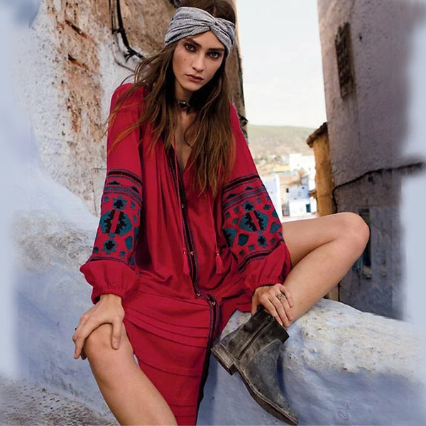 Cool Kid Hippie Dress - Boho chic ,fashion clothing, boho dresses - Blue Nana