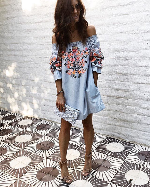 Naomi Off Shoulder Dress - Boho chic ,fashion clothing, boho dresses - Blue Nana