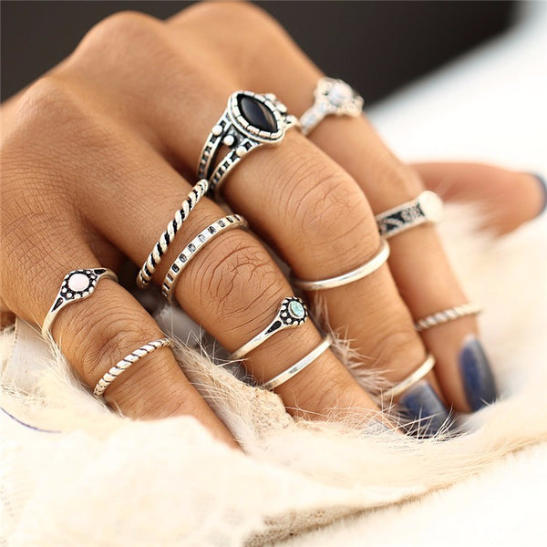 Boho Charms Midi Rings Set - Boho chic ,fashion clothing, boho dresses - Blue Nana
