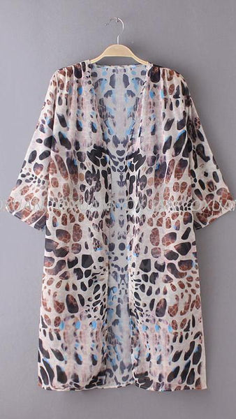Fancy Leopard Kimono - Boho chic ,fashion clothing, boho dresses - Blue Nana