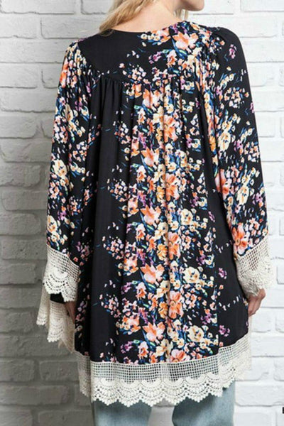 Your Garden Kimono - Boho chic ,fashion clothing, boho dresses - Blue Nana