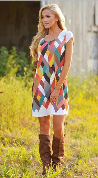 Mia Colorful Dress - Boho chic ,fashion clothing, boho dresses - Blue Nana