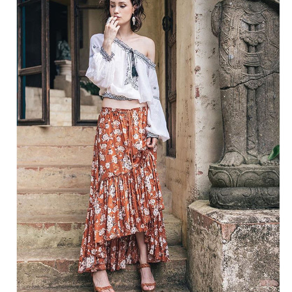On High Maxi Skirt - Boho chic ,fashion clothing, boho dresses - Blue Nana