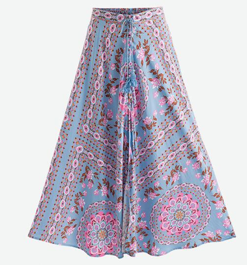 Floral Slit Maxi Dress - Boho chic ,fashion clothing, boho dresses - Blue Nana