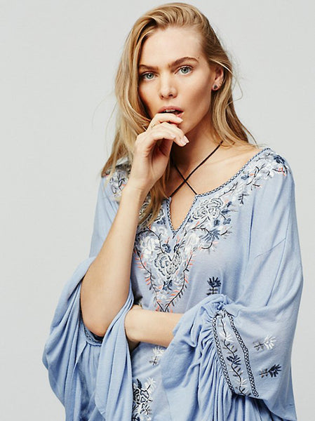 Bohemian Casual Top - Boho chic ,fashion clothing, boho dresses - Blue Nana