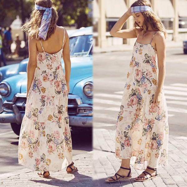 Hippie Flower Maxi Dress - Boho chic ,fashion clothing, boho dresses - Blue Nana