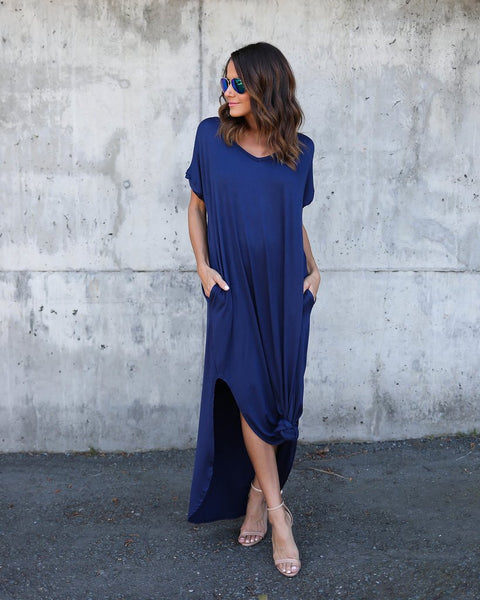 Classic Slits Maxi Skirt - Boho chic ,fashion clothing, boho dresses - Blue Nana