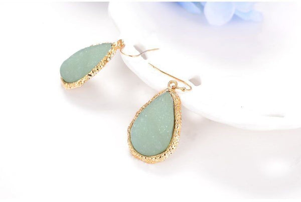 Stone Teardrop Earrings - Boho chic ,fashion clothing, boho dresses - Blue Nana