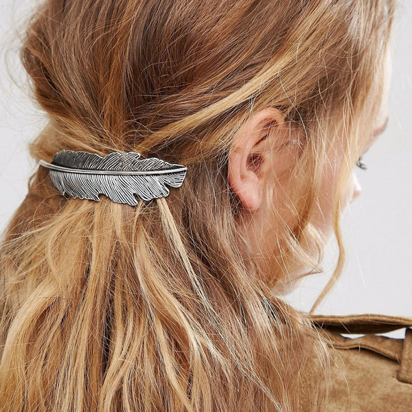 Boho Feather Hair Barrettes - Boho chic ,fashion clothing, boho dresses - Blue Nana