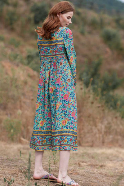 Flowers and Tassel Maxi Dress - Boho chic ,fashion clothing, boho dresses - Blue Nana
