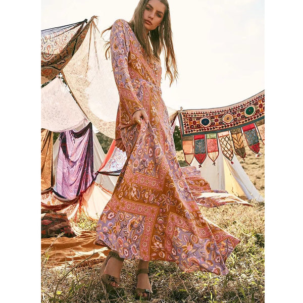 Autumn Ethnic Floral dress - Boho chic ,fashion clothing, boho dresses - Blue Nana