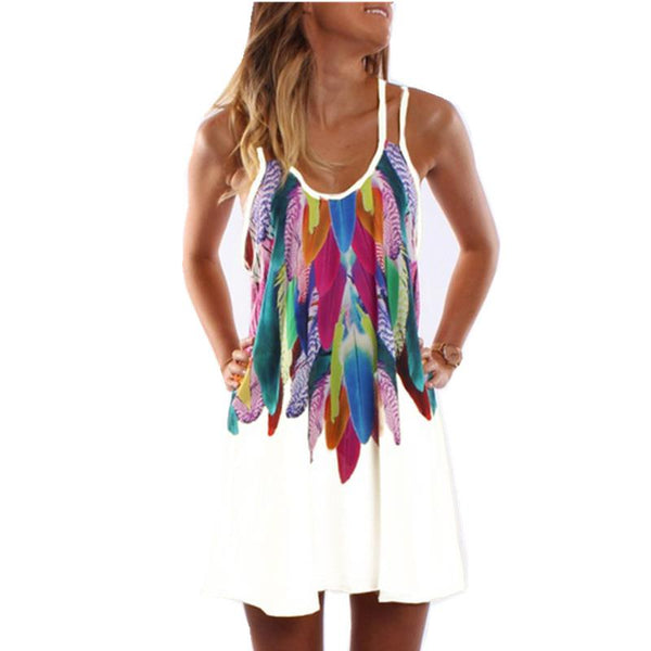 Feather Lover Mini Dress - Boho chic ,fashion clothing, boho dresses - Blue Nana