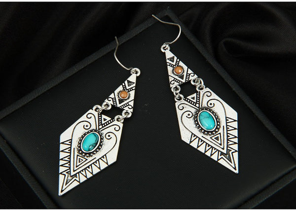 Tibetan Carve Earrings - Boho chic ,fashion clothing, boho dresses - Blue Nana