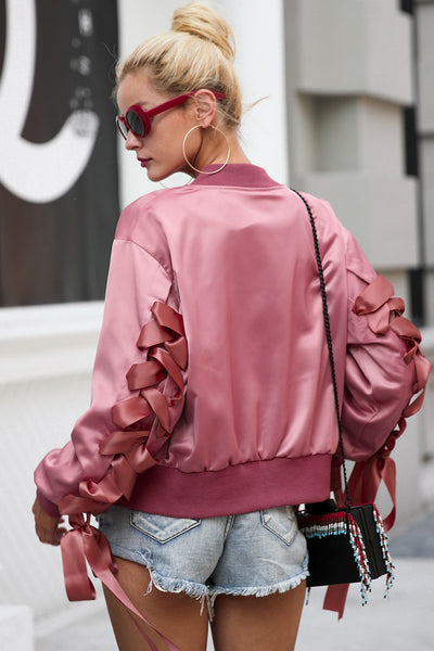 Pink Satin Autumn Jacket - Boho chic ,fashion clothing, boho dresses - Blue Nana