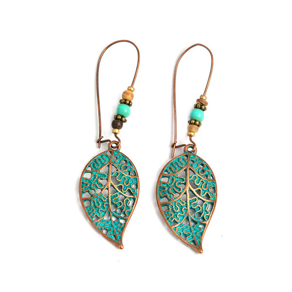 Hollow Leaf Earrings - Boho chic ,fashion clothing, boho dresses - Blue Nana