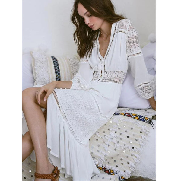 White Love Boho Dress - Boho chic ,fashion clothing, boho dresses - Blue Nana