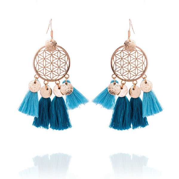 Sequin Tang Earrings - Boho chic ,fashion clothing, boho dresses - Blue Nana