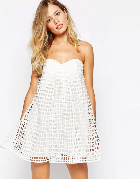 White Beach Mini Dress - Boho chic ,fashion clothing, boho dresses - Blue Nana