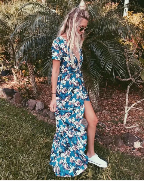 Floral in Blue Maxi Dress - Boho chic ,fashion clothing, boho dresses - Blue Nana