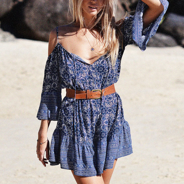 Sun Kissed Mini Dress - Boho chic ,fashion clothing, boho dresses - Blue Nana