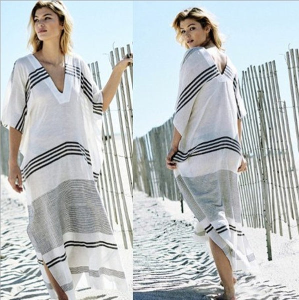 Striped Long Beach Dress - Boho chic ,fashion clothing, boho dresses - Blue Nana