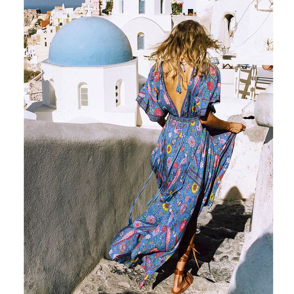 Deeper Still Maxi Dress - Boho chic ,fashion clothing, boho dresses - Blue Nana
