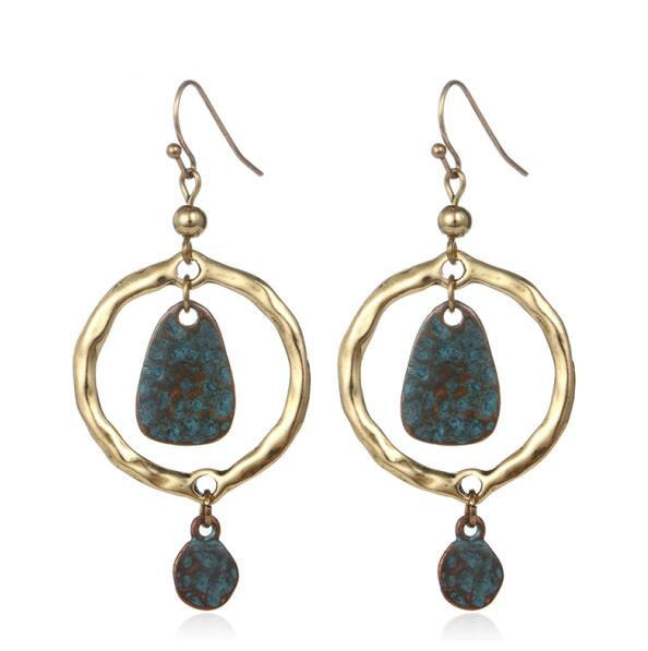Cooper Drop Earrings - Boho chic ,fashion clothing, boho dresses - Blue Nana