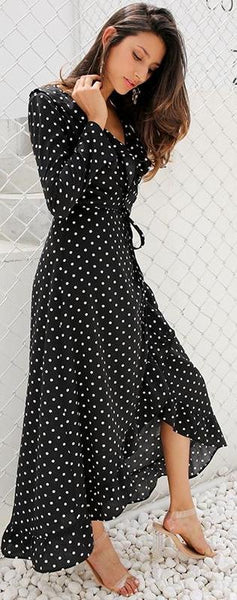 Dots On Clash Black Dress - Boho chic ,fashion clothing, boho dresses - Blue Nana