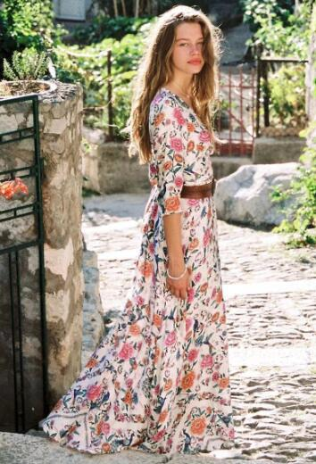 Flora Beauty Maxi Dress - Boho chic ,fashion clothing, boho dresses - Blue Nana