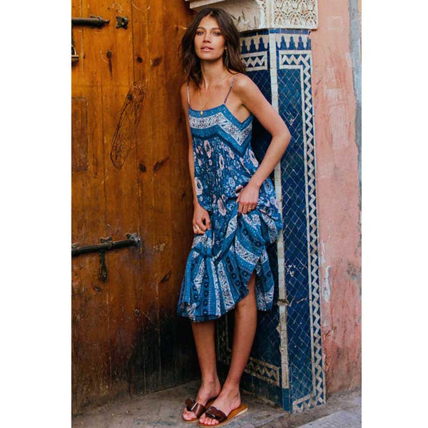 Oceana Blues Midi Dress - Boho chic ,fashion clothing, boho dresses - Blue Nana