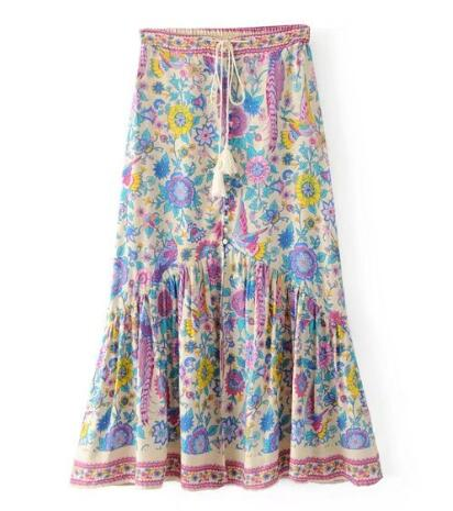Floral Flow Maxi Skirt - Boho chic ,fashion clothing, boho dresses - Blue Nana