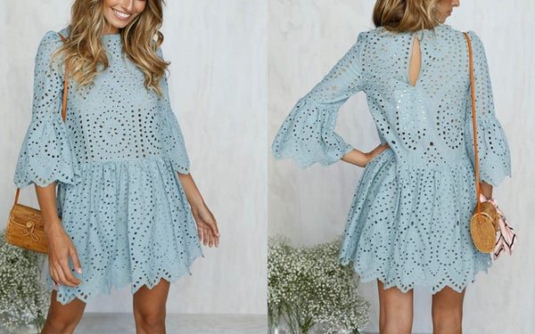 Be Mine Mini Dress - Boho chic ,fashion clothing, boho dresses - Blue Nana