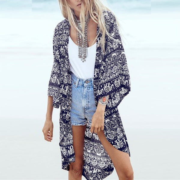 Bohemian Blackjack Kimono - Boho chic ,fashion clothing, boho dresses - Blue Nana