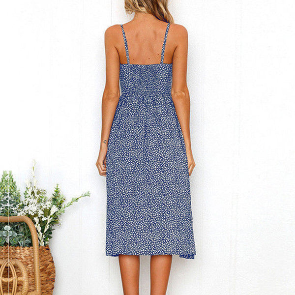 Caroline Buttons Midi Dress - Boho chic ,fashion clothing, boho dresses - Blue Nana