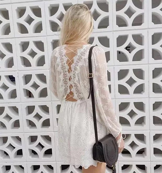 Summer Lace Mini Dress - Boho chic ,fashion clothing, boho dresses - Blue Nana