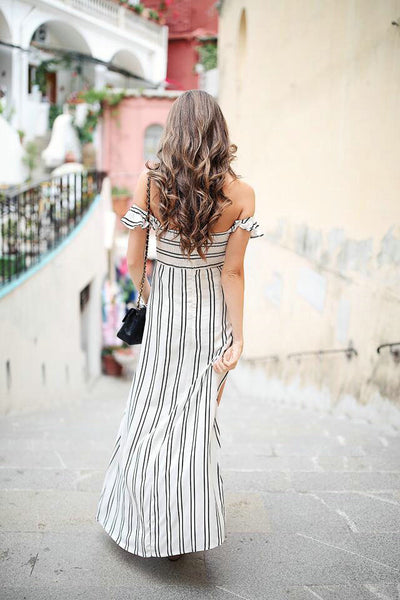 Havana Off Shoulder Maxi Dress - Boho chic ,fashion clothing, boho dresses - Blue Nana