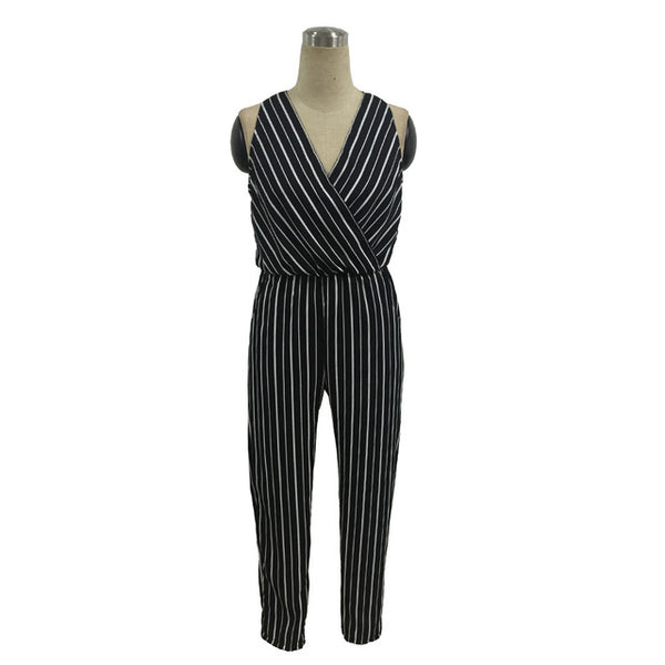 Deep V collar Elastic waist jumpsuit - Boho chic ,fashion clothing, boho dresses - Blue Nana