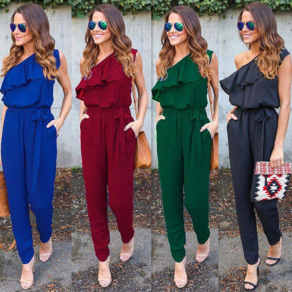 Irregular Ruffles leaf Jumpsuits - Boho chic ,fashion clothing, boho dresses - Blue Nana