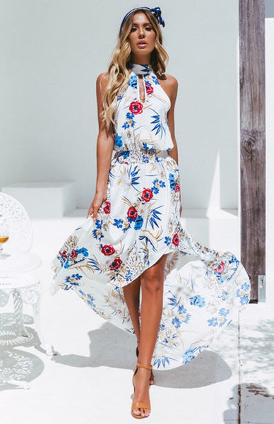 Elegant Flower Dress - Boho chic ,fashion clothing, boho dresses - Blue Nana