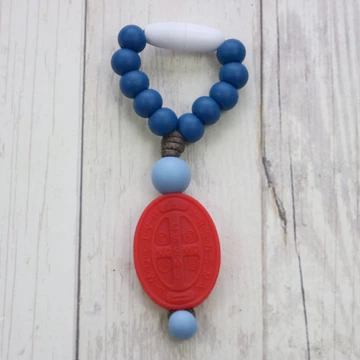 St. Benedict Mini Decade - navy/powder blue, red medal