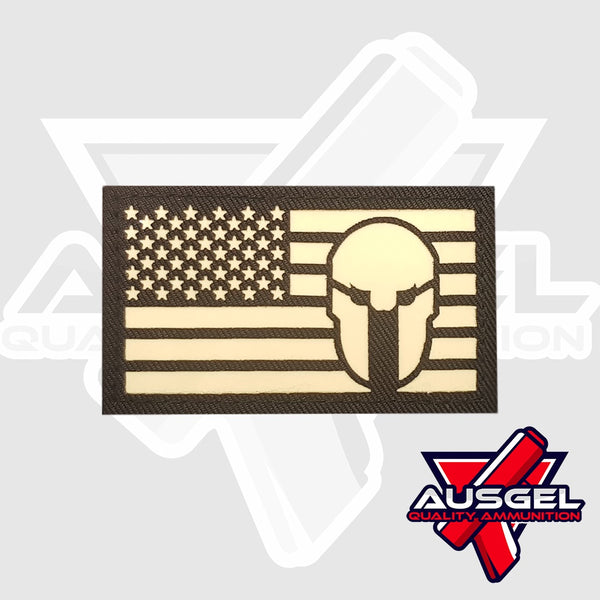 Patch - US Flag Spartan Helmet (glow in the dark)