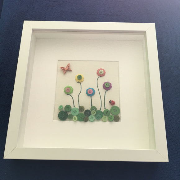 Handmade 'Button Garden' picture