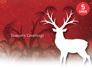 Set of 5 Deer Christmas cards