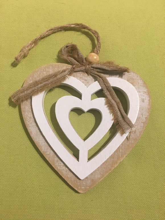 Wooden 'heart within a heart'
