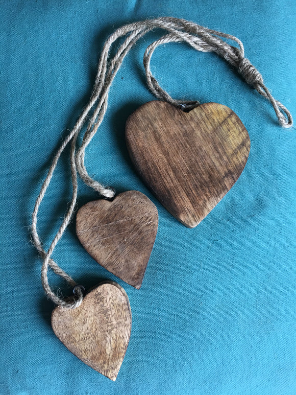 Triple hanging wooden hearts