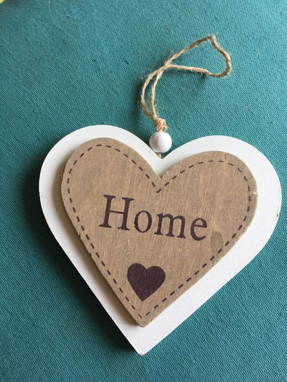 Wooden hanging 'Home' heart