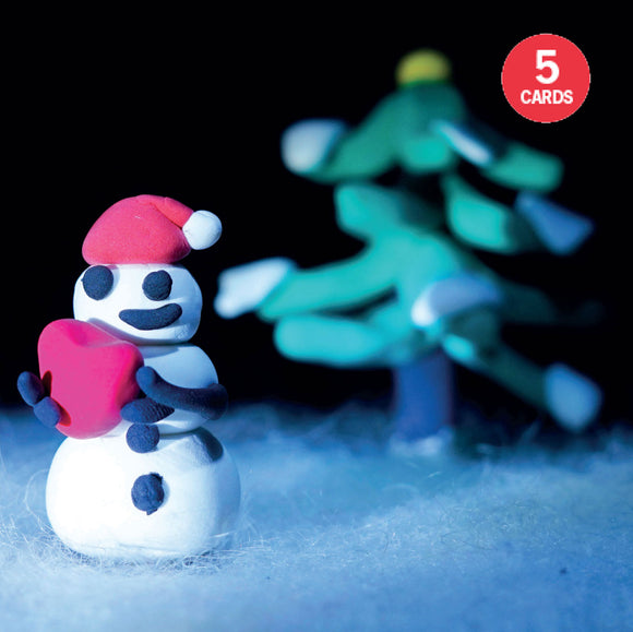 Set of 5 Snowman holding a heart Christmas cards